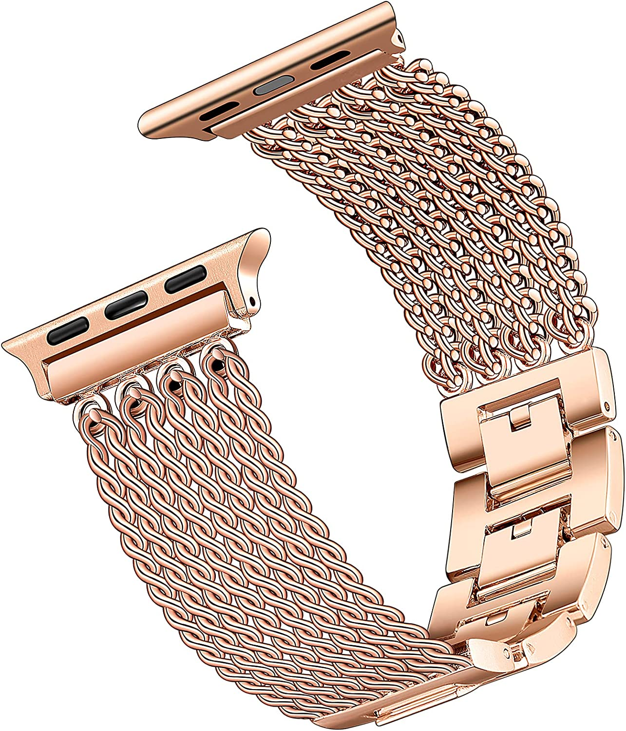 DiBoLang Compatible with Apple Watch Band 38/40/42/44mm Women Girls, Fashion Dressy Style Stainless Steel Bracelet Strap with Tassel Metal Chain for Iwatch Serices 6 5 4 3 2 1 SE All Models(38mm/40mm)