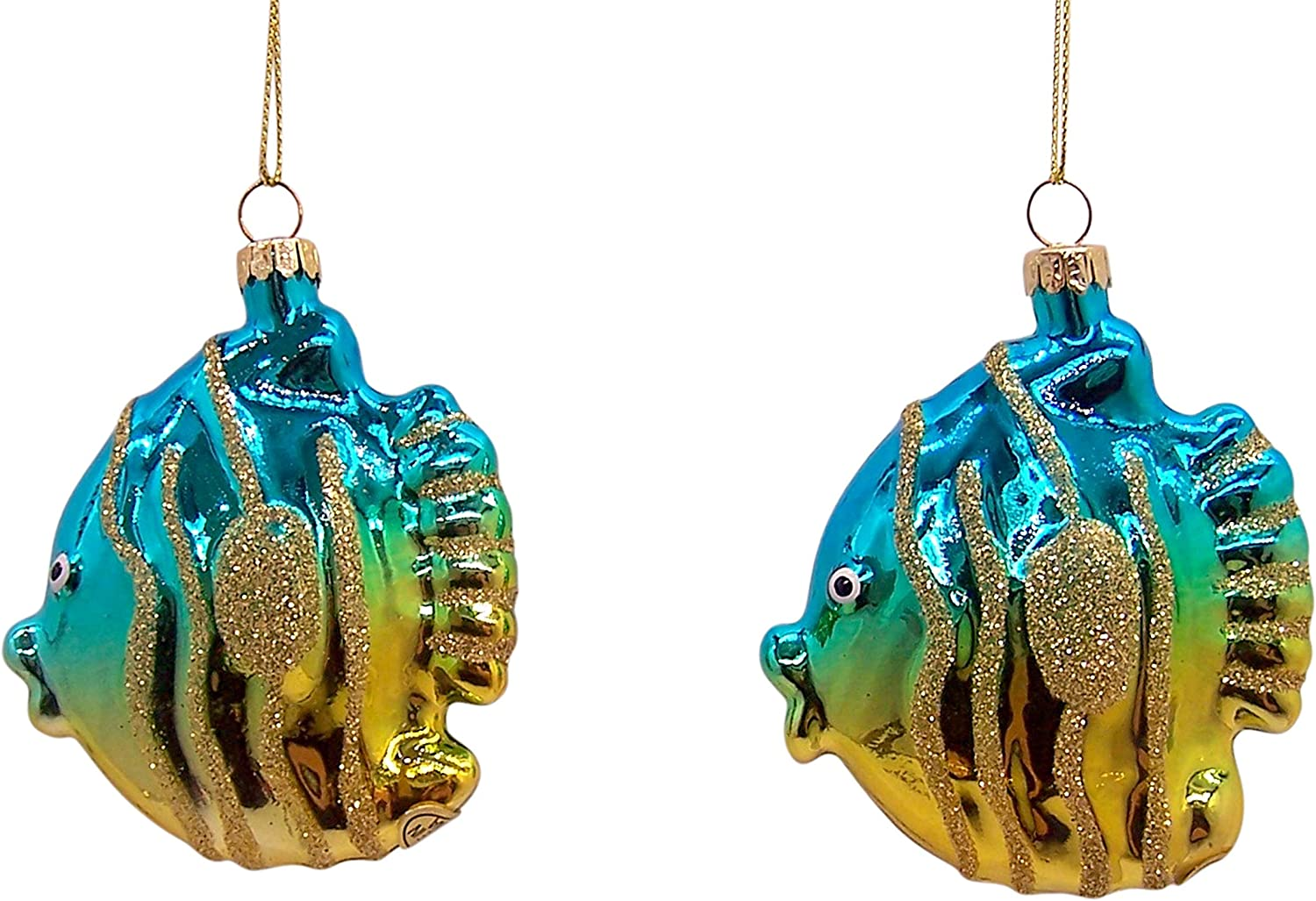 Wowser Tropical Fish Christmas Ornament, Nautical Holiday Tree Decoration, 3 1/2 Inches, Set of 2
