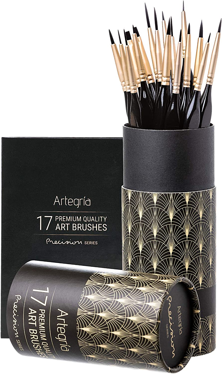 ARTEGRIA Detail Paint Brush Set - 17 Miniature Paint Brushes with Fine Tips, Ergonomic Handle, Dagger Brush for Small Scale Model Art and Paint by Numbers for Adults - Acrylic Watercolor Oil Gouache