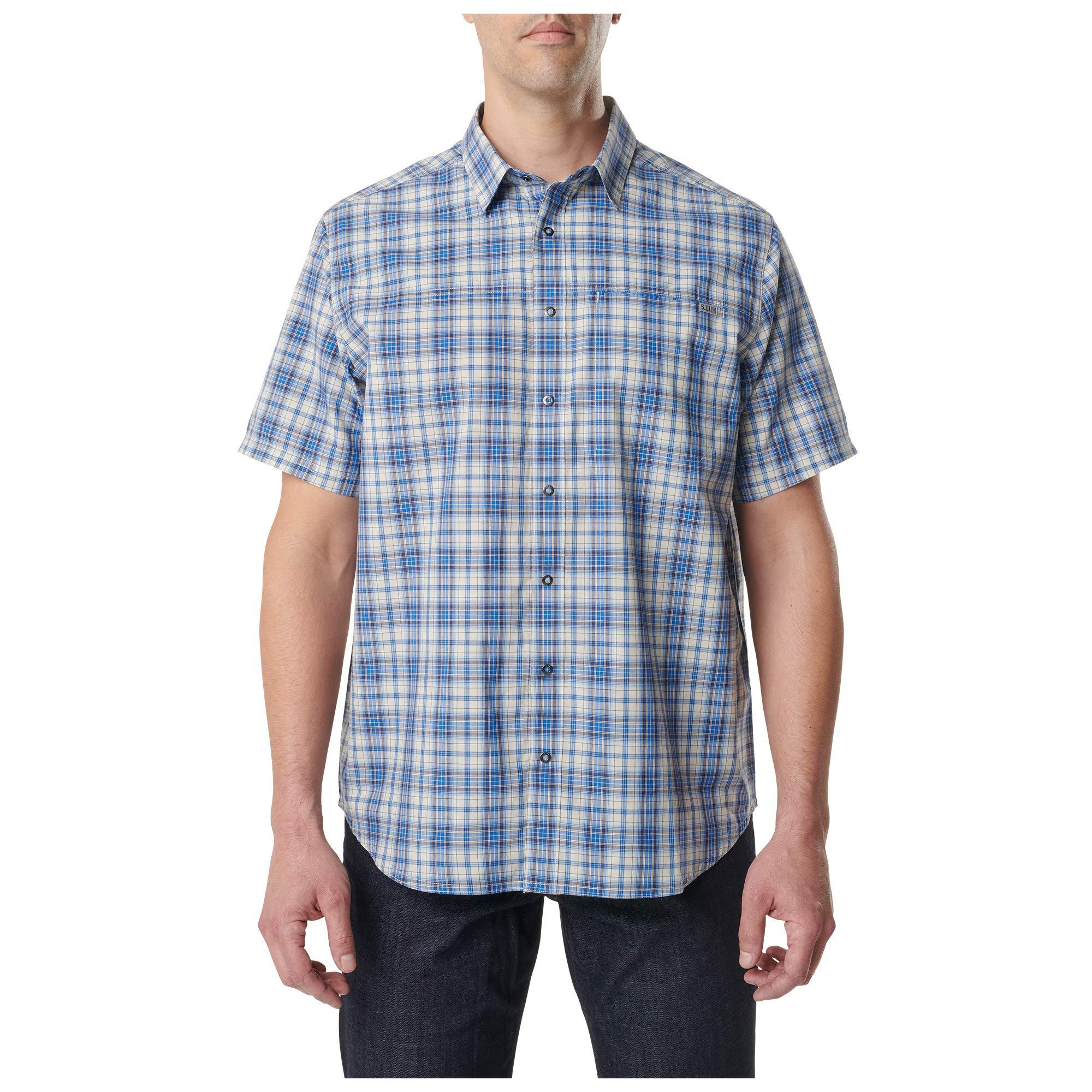 5.11 Tactical Camisa de manga corta de cuadros cazadores de poliéster para hombre, estilo 71374