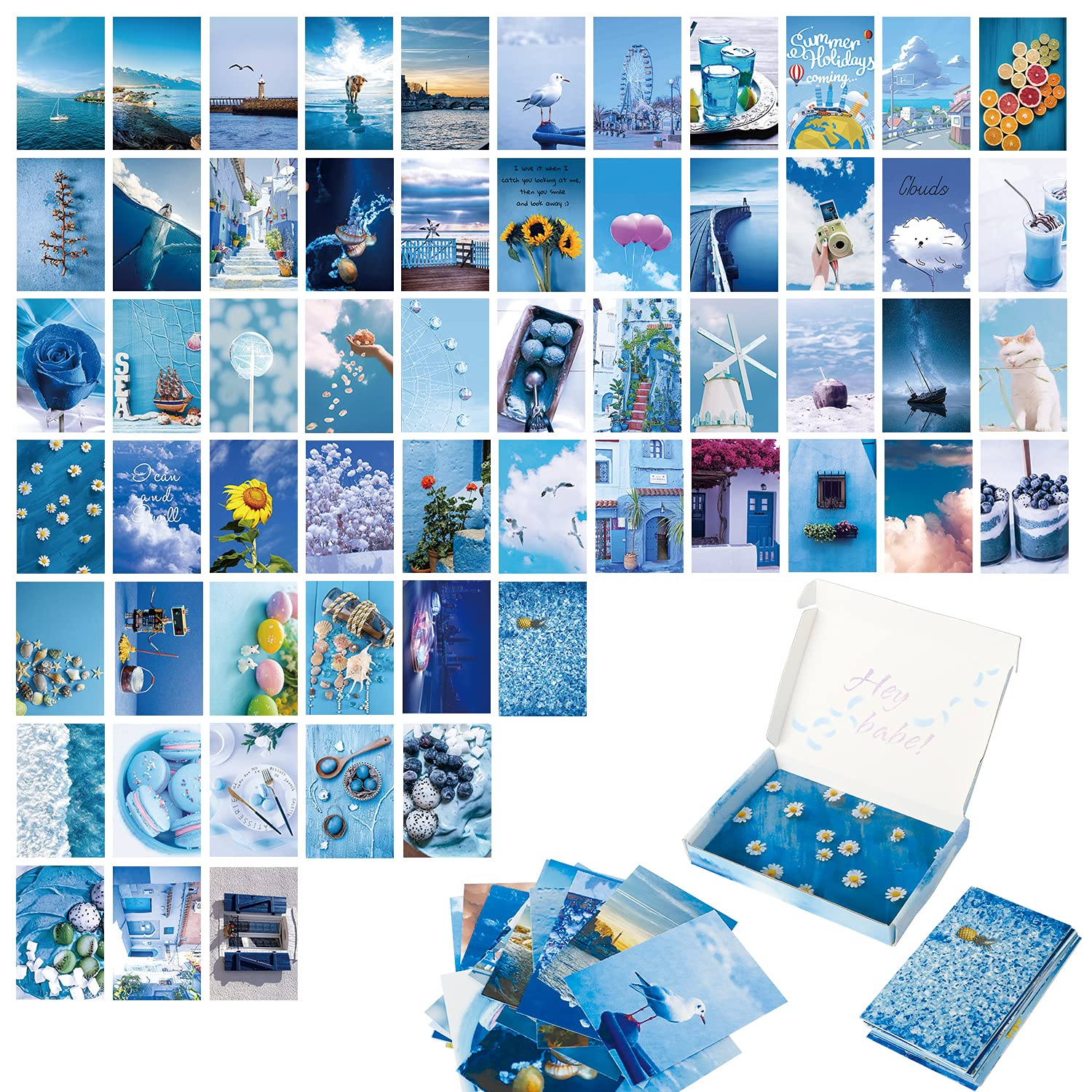 JoneTing Wall Collage Kit Aesthetic Pictures 60Pcs Blue Photo Collage Kit for Wall Aesthetic,Bedroom Decor for Bedroom Aesthetic Photo Poster Prints for Wall Decor