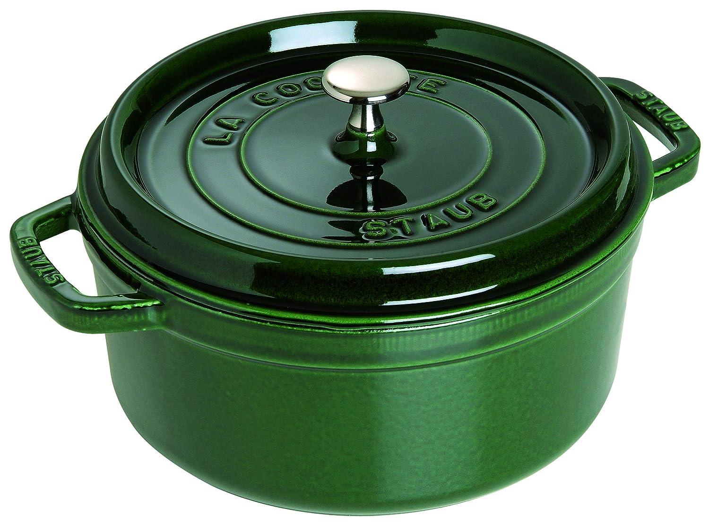 Staub Cast Iron 9-qt Round Cocotte - Basil