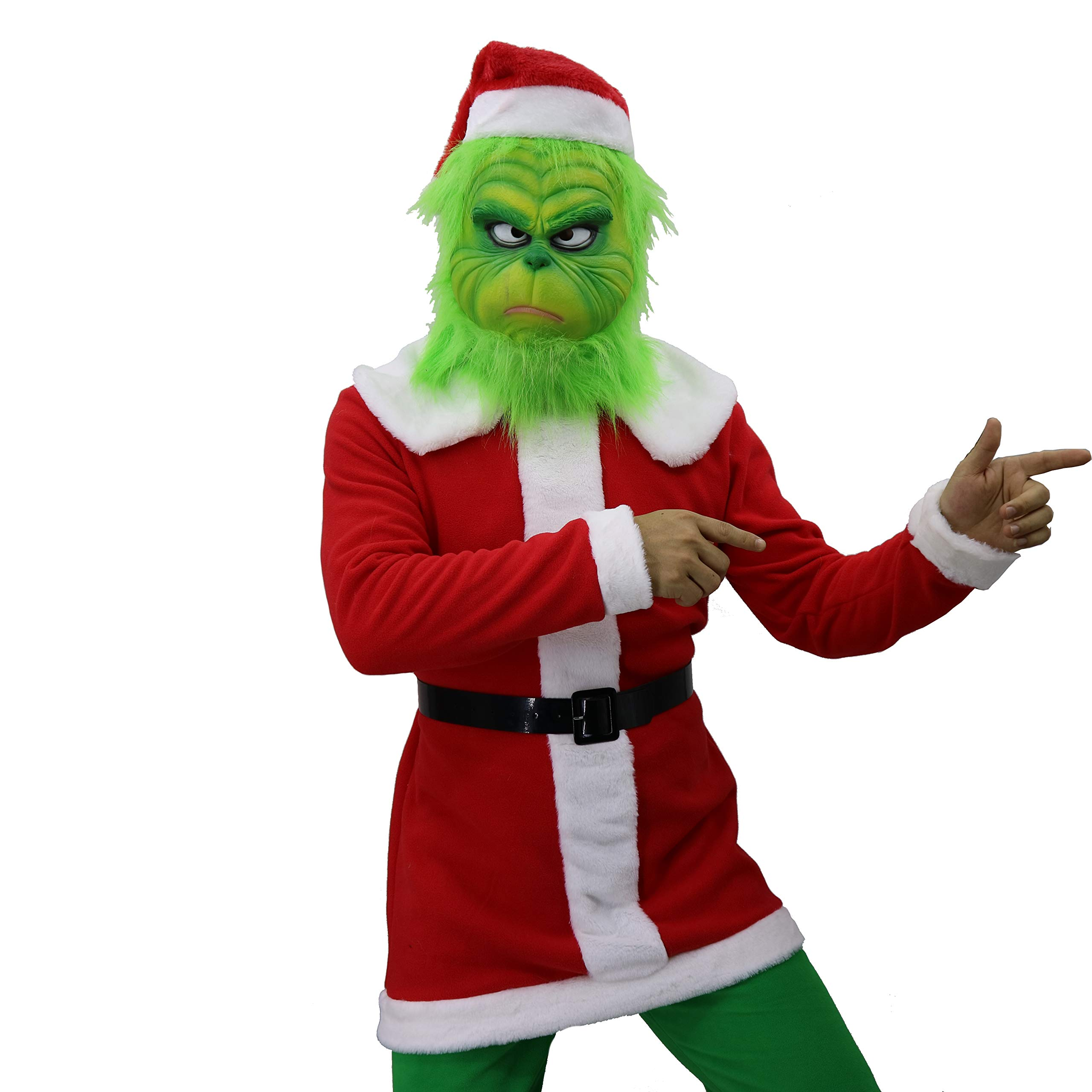 QIKI Grinch Costume Christmas Cosplay Grinch Latex Mask + Christmas hat + Christmas Outfit +Belt + Green Gloves (B, Medium)
