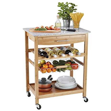 Wooden Mobile Freestanding Storage Sideboard Cart with Wine Rack by Country Kitchen Traditional Buttermilk Multi Purpose Pantry Cabinet