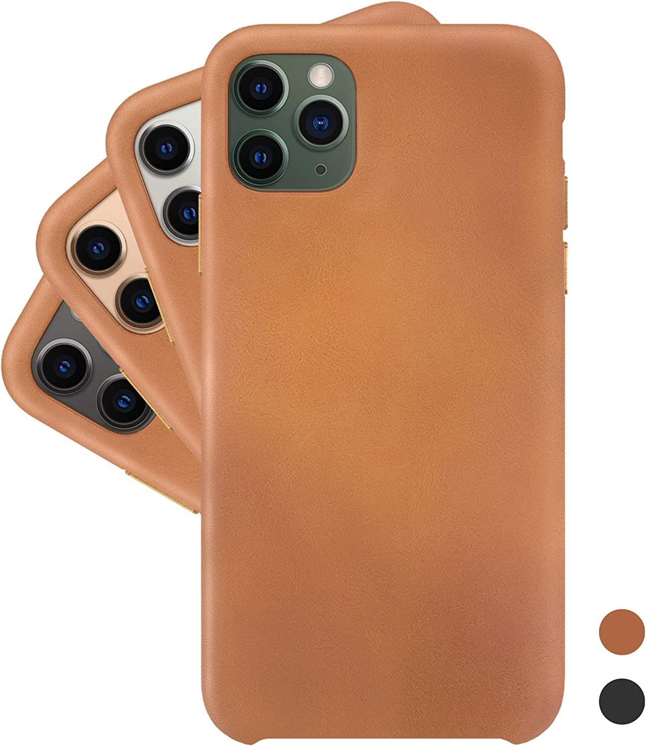 LONLI Basic | Ultra Soft and Smooth Vegan Leather Case - for Apple iPhone 11 Pro Max - (6.5 inch, Caramel)