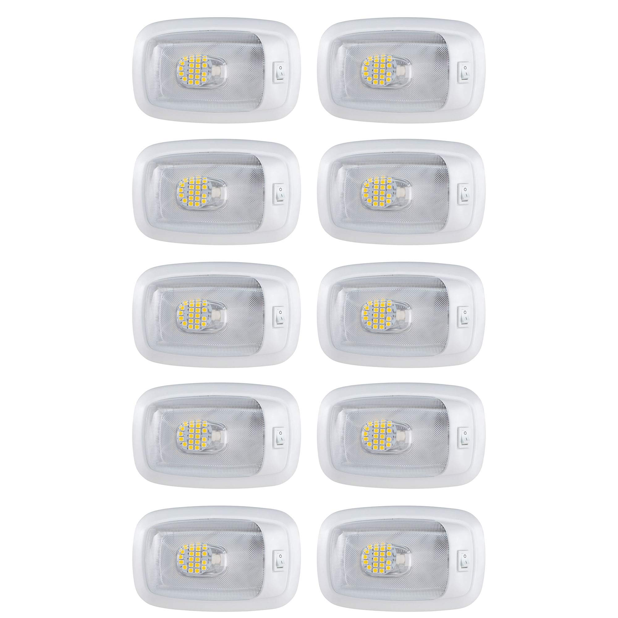 10 NEW RV LED 12v 3200K PANCAKE CEILING FIXTURE SINGLE DOME LIGHT FOR CAMPERS TRAILERS RV MARINE