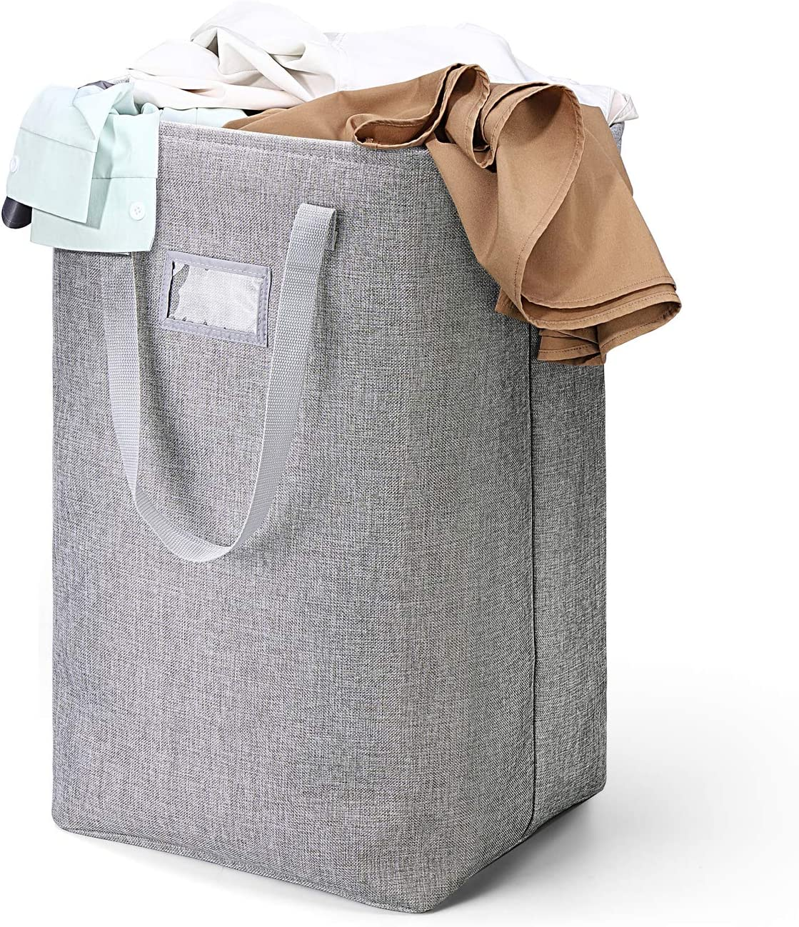 HOUSE DAY Laundry Hamper Collapsible with Removeable Laundry Bag & Sorting Pocket, Large Linen Dirty Clothes Hamper with Detachable Brackets Well-Holding Foldable for Dorm Room Storage (Grey)