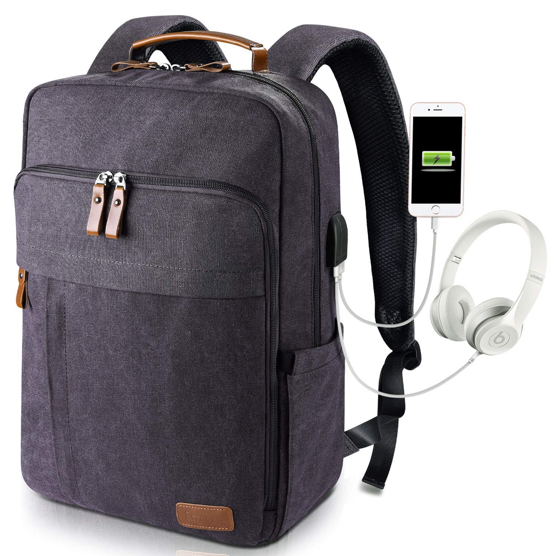 Estarer Laptop Backpack w/USB Charging Port for Men Women, Water Resistant Canvas Backpack School Office Work Fit Most 17-17.3 Inch Computer