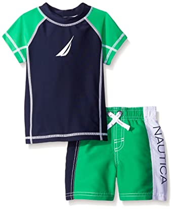 8967b3708a Nautica Baby Short Sleeve Rashguard Colorblock Set, Lime Green, 12 Months