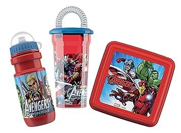 BBS Mochila con Kit Snack&Drink Avengers, Rojo, 19x18x12 cm 3 Unidades