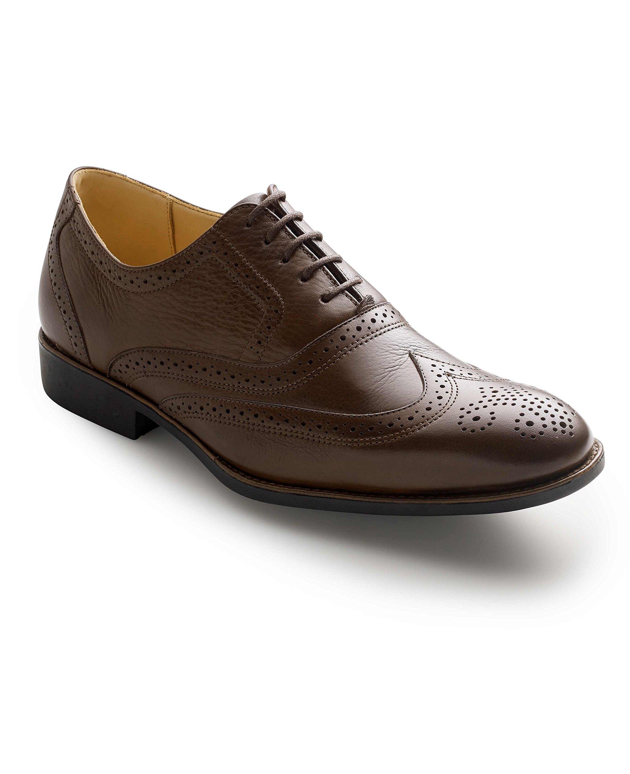 Savile Row Men's Deep Brown Leather Full Brogue Shoes 12