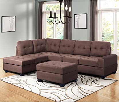 Amazon.com: Harper & Bright Designs Sectional Sofa 3-Seat Sofa Set Couches With Chaise Lounge Storage Ottoman And Cup Holders For Living Room (Brown): Furniture & Decor