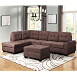 Harper U0026 Bright Designs 3 Piece Sectional Sofa Microfiber With Reversible  Chaise Lounge Storage Ottoman And