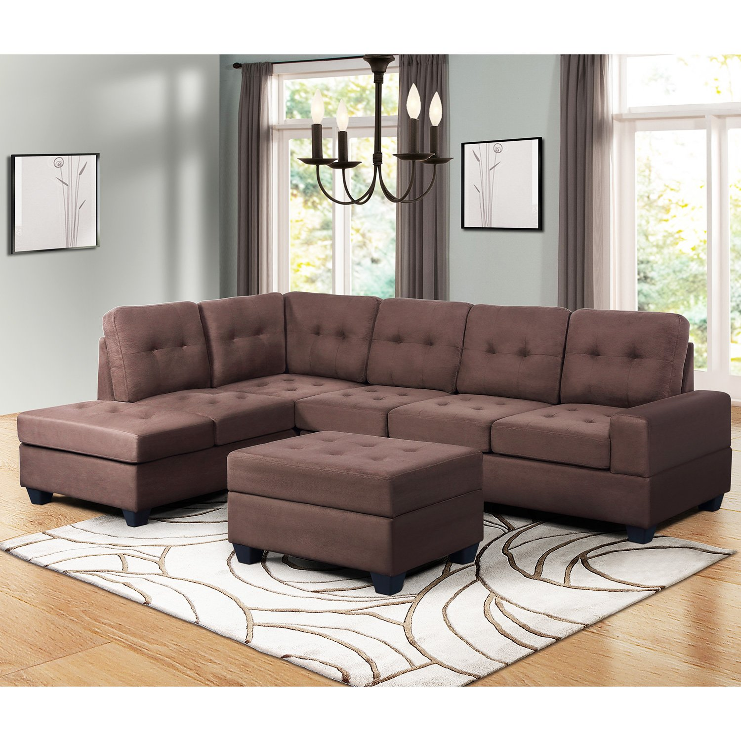 Harper & Bright Designs Sectional Sofa 3 Piece Sofa Sets Couches with Reversible Chaise Lounge Storage Ottoman and Cup Holders for Living Room (Brown) by Harper & Bright Designs