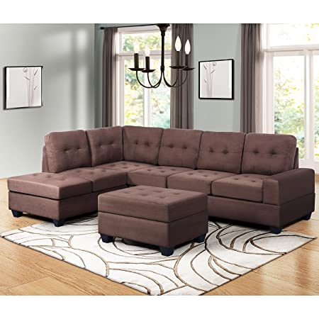 Harper Bright Designs 3 Piece Sectional Sofa Couches with Reversible Chaise Lounge Storage Ottoman and Cup Holders for Living Room Brown