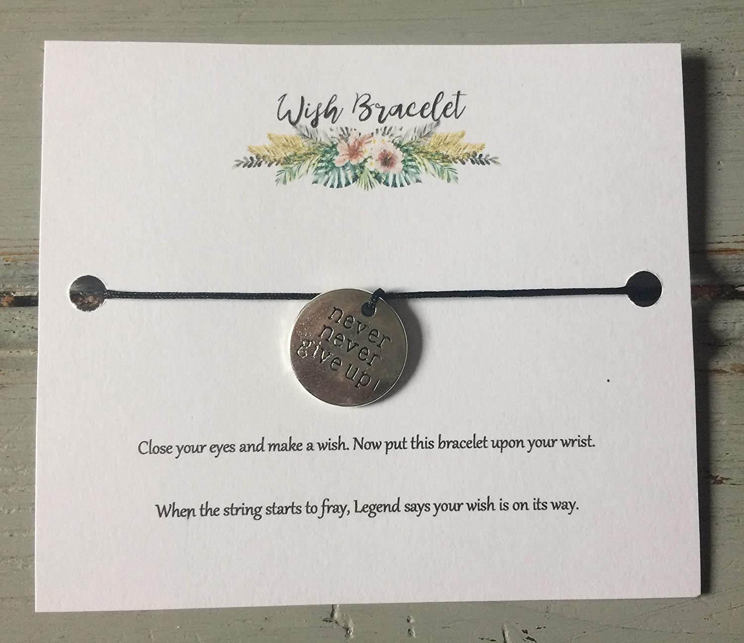 Wish bracelet with black cord and never never give up charm on backing card with poem teacher mum sister friend girlfriend wife self care mental health motivation gift present