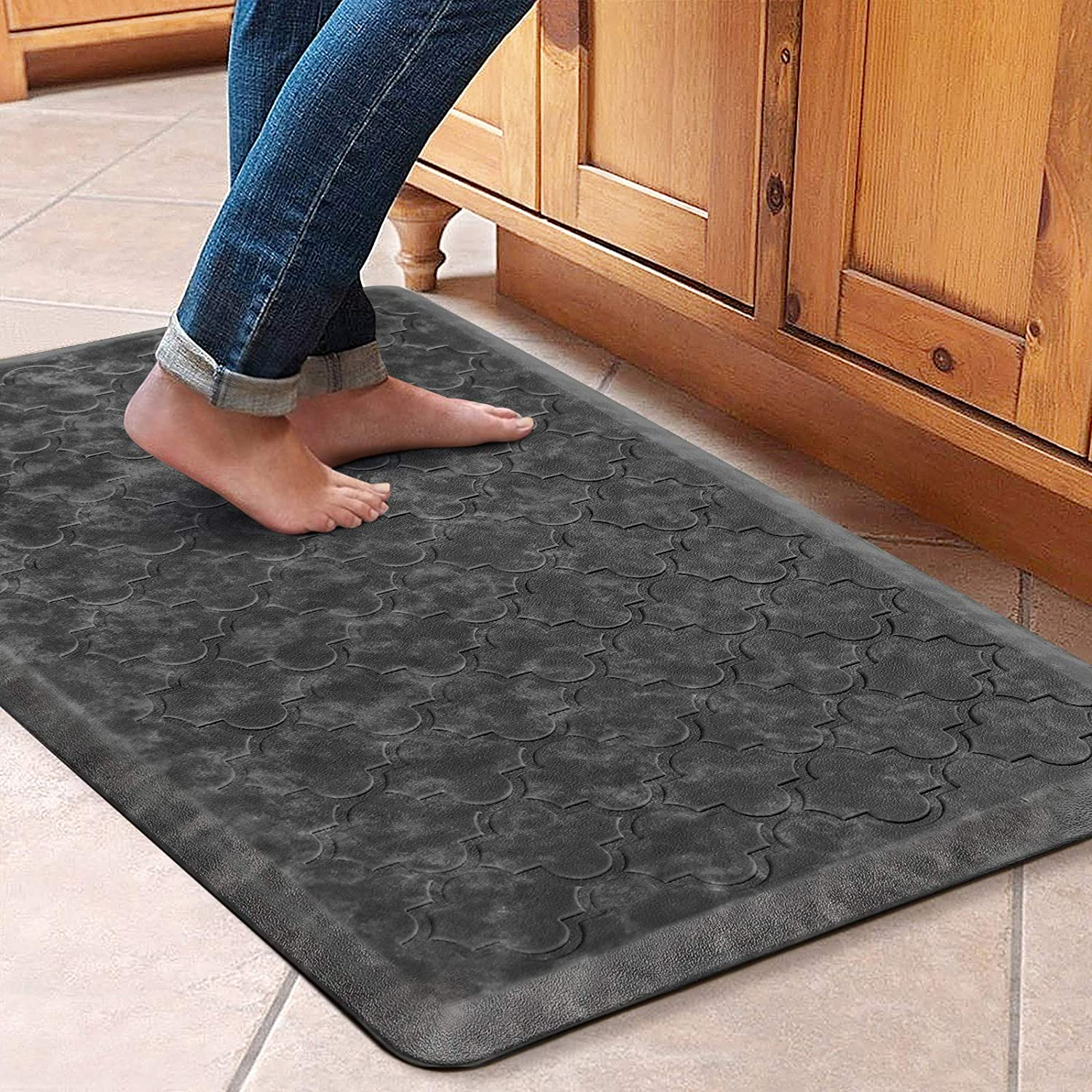 "WiseLife Kitchen Mat Cushioned Anti Fatigue Floor Mat,17.3""x28"",Thick Non Slip Waterproof Kitchen Rugs and Mats,Heavy Duty PVC Foam Standing Mat for Kitchen,Floor,Home,Office,Desk,Sink,Laundry,Grey"
