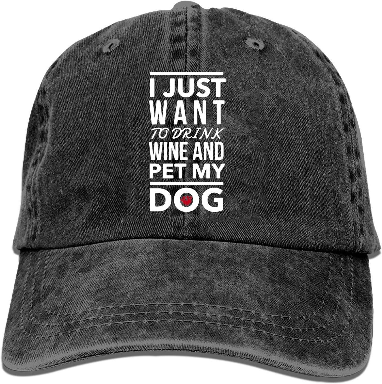 Onled Gorras de béisbol para hombres y mujeres-beber vino y mascotas mi perro gorra deportiva ajustable Trucker sombrero vaquero