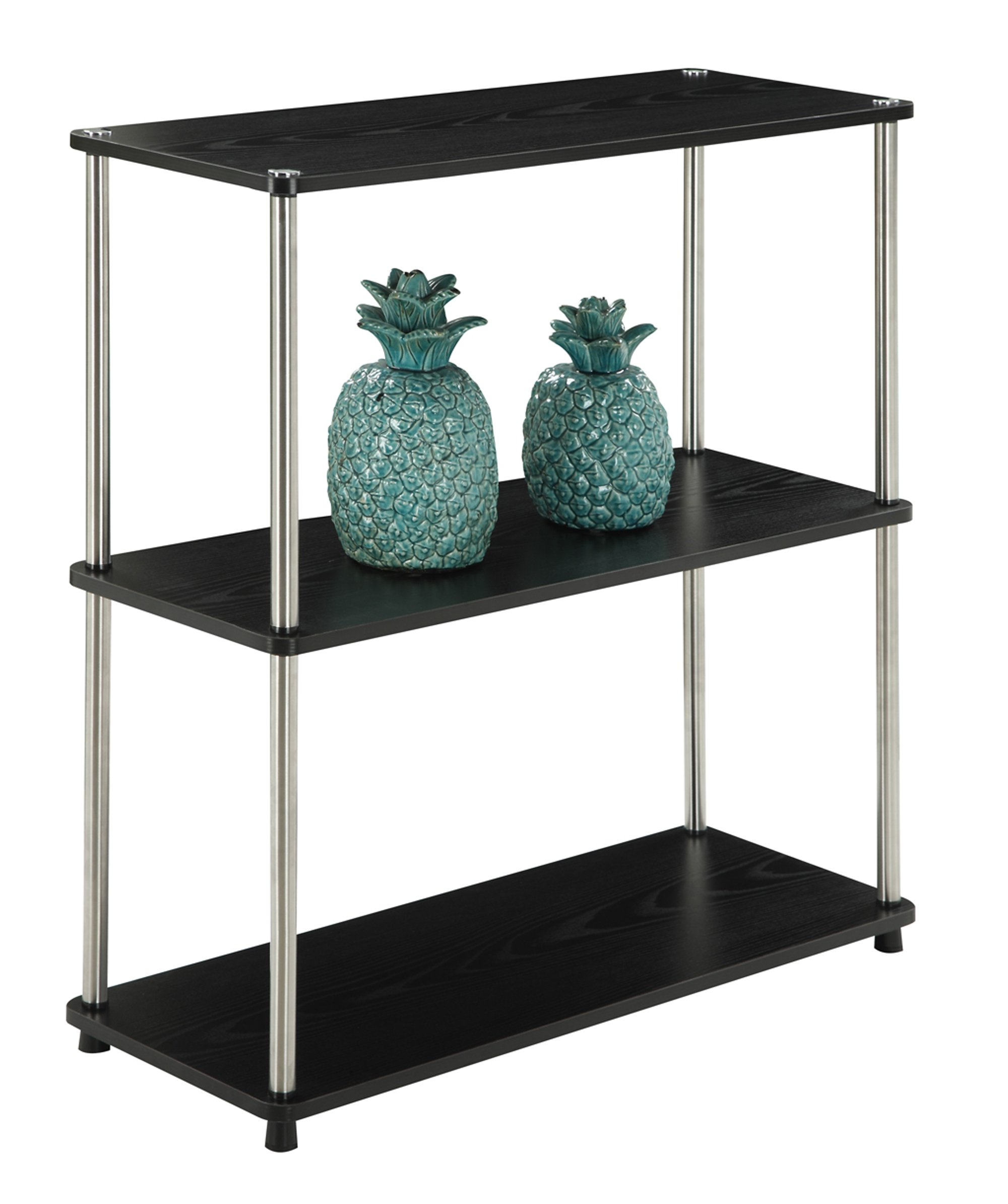 Convenience Concepts Designs2Go 3 Tier Bookshelf, Black - No tools required Large shelves for display Beautiful woodgrain finish - living-room-furniture, living-room, bookcases-bookshelves - 81GeUTZvwpL -