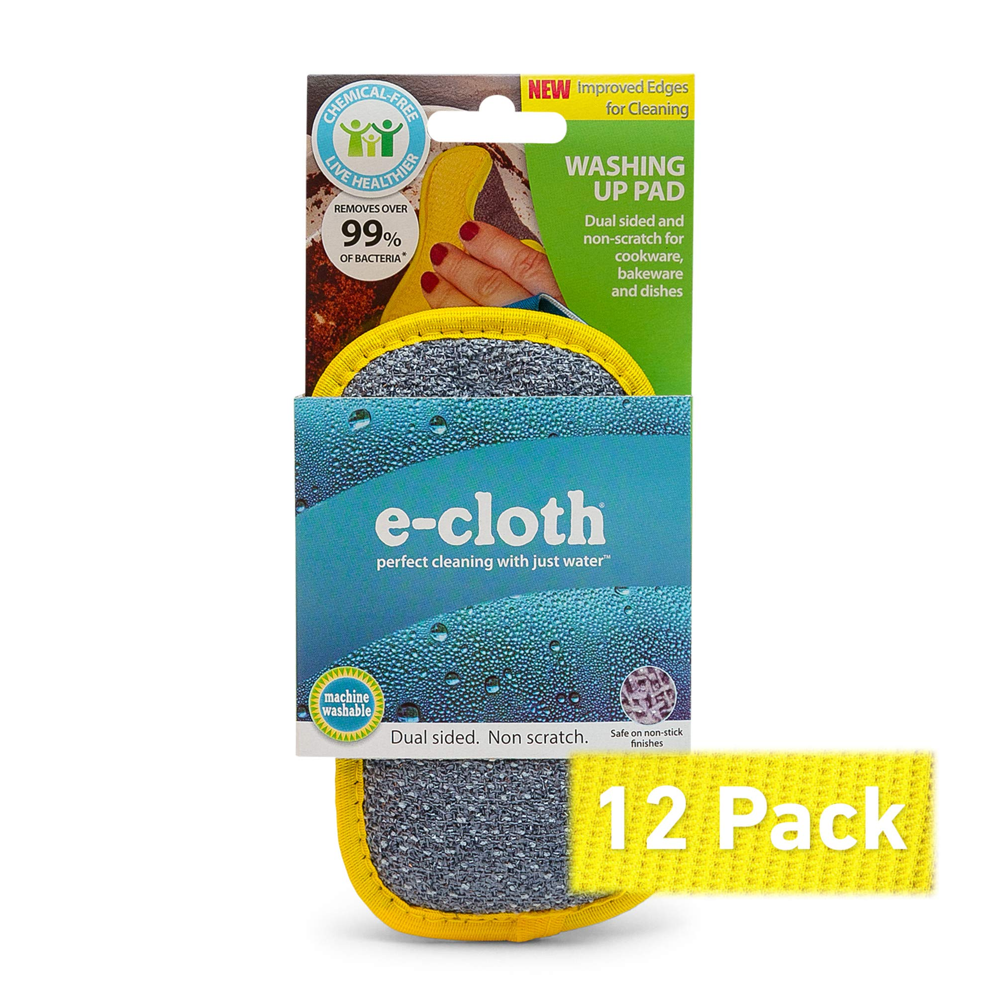 E-Cloth Microfiber Dual Purpose Washing Up Pad, Yellow, 12 Count by E-Cloth (Image #3)
