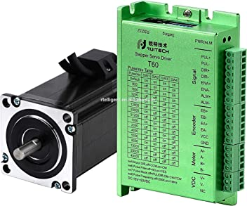 4.0A 57 57 97mm with Encoder 283.4oz.in RTELLIGENT Nema 23 Stepper Closed Loop Servo Motor and Driver Kit 2 Phase 2.0NM