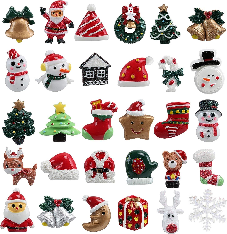 Kesote 30 Piezas de Mini Adornos Navideños de Resina Papá Noel, Sonajero, Árbol de Navidad, Muñeco de Nieve, Miniaturas de Navidad para Regalo, Parcela, Tarjetas de Felicitación