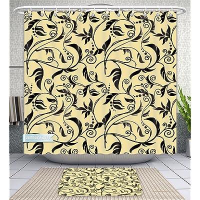 Amavam Bathroom 2 Piece Suit Floral Background Gold End Black Shower Curtains And Bath Mats Set 66 Wx72 H 23 Wx16