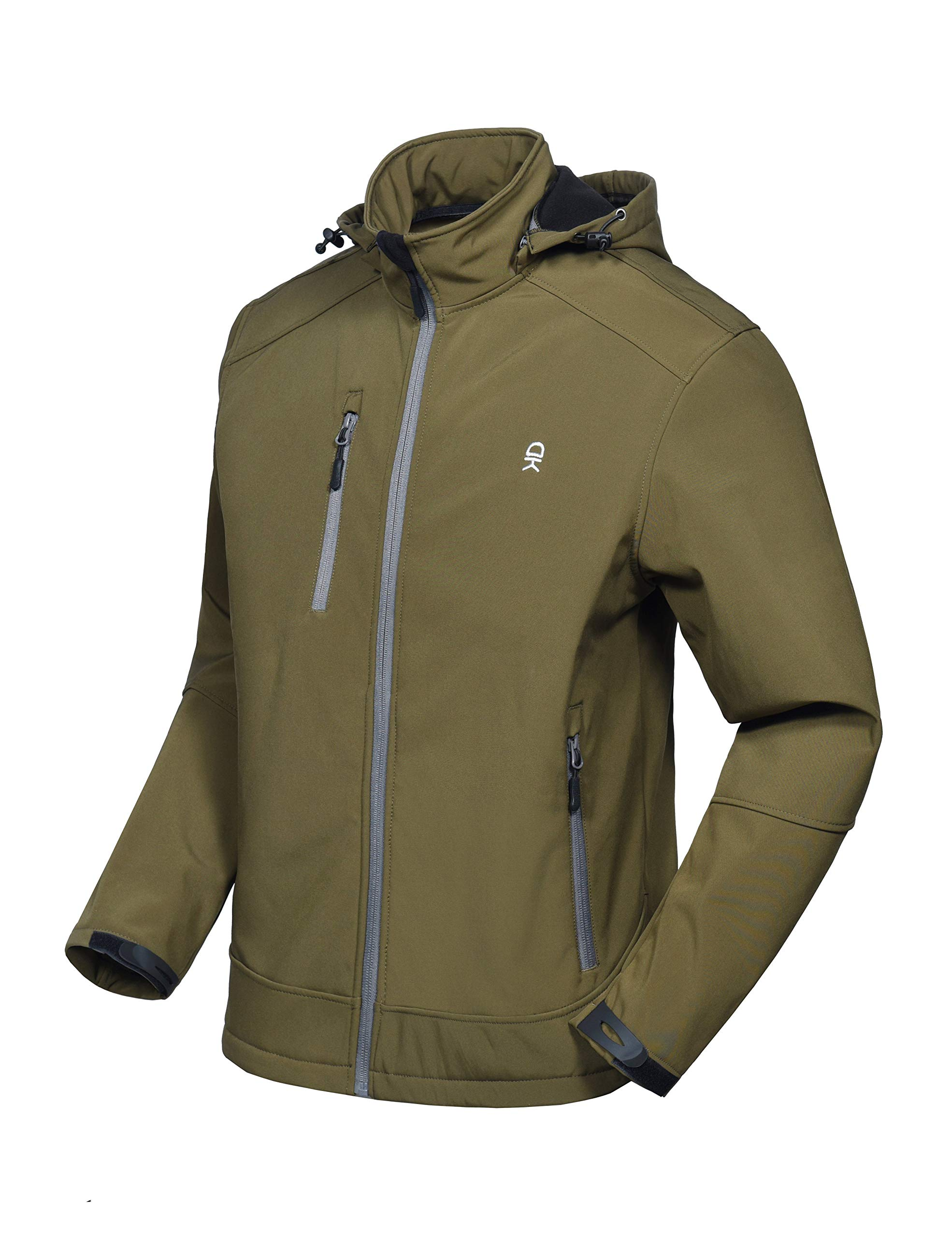 Little Donkey Andy Men's Softshell Jacket with Removable Hood, Fleece Lined and Water Repellent Olive Size L by Little Donkey Andy