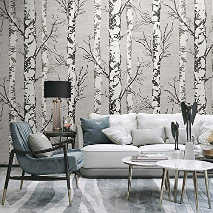 . Blooming Wall Modern Birch Tree Wall Mural Wallpaper for Livingroom  Bedroom  57 Square Ft Roll  Wallpaper 57 Square ft Roll