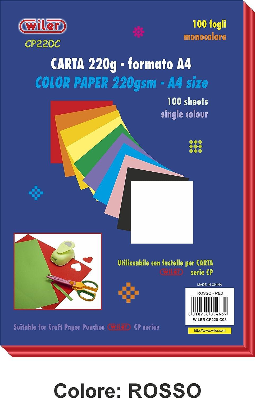 Wiler CP220C04 Confezione da 100 Fogli di Carta Colorata 220gsm Formato A4 Colore VERDE