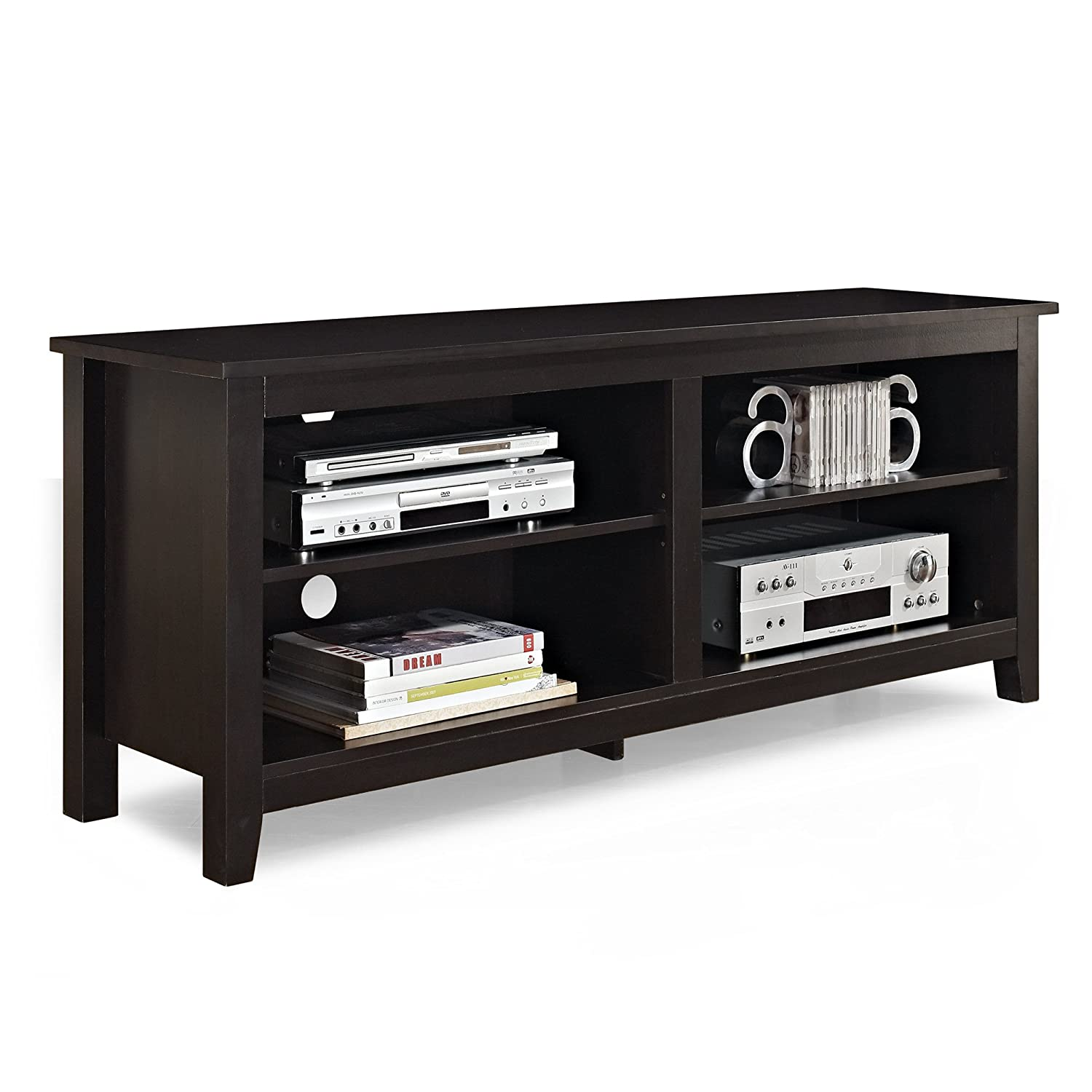 Amazoncom WE Furniture Wood TV Stand Storage Console - Furniture storage