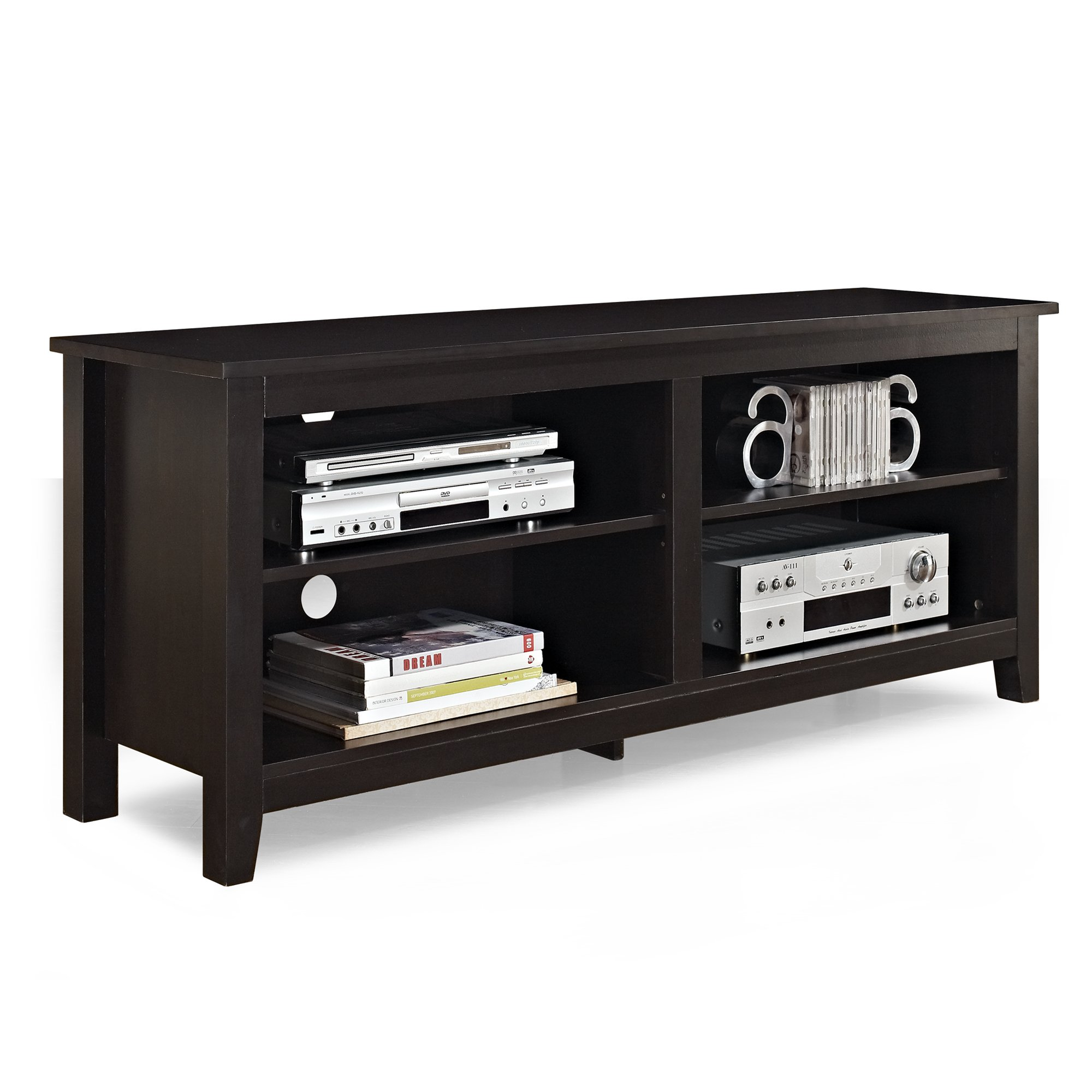 WE Furniture 58'' Wood TV Stand Storage Console, Espresso by WE Furniture (Image #3)