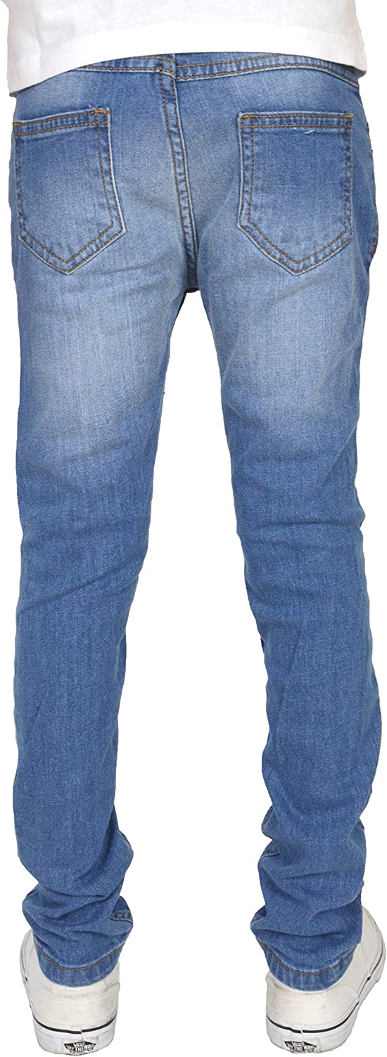 SK-1 Apparel Boys//Kids//Youths Super Skinny Stretch Ripped Distressed Faded Jeans
