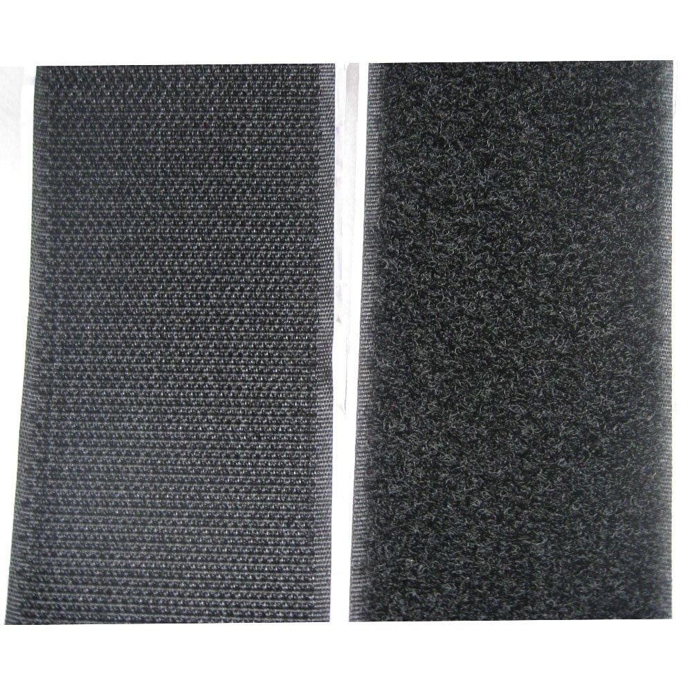 Bluemoona 5 Yards - 2'' 50MM Sticky Back Self Hook & Loop Adhesive Tapes Black