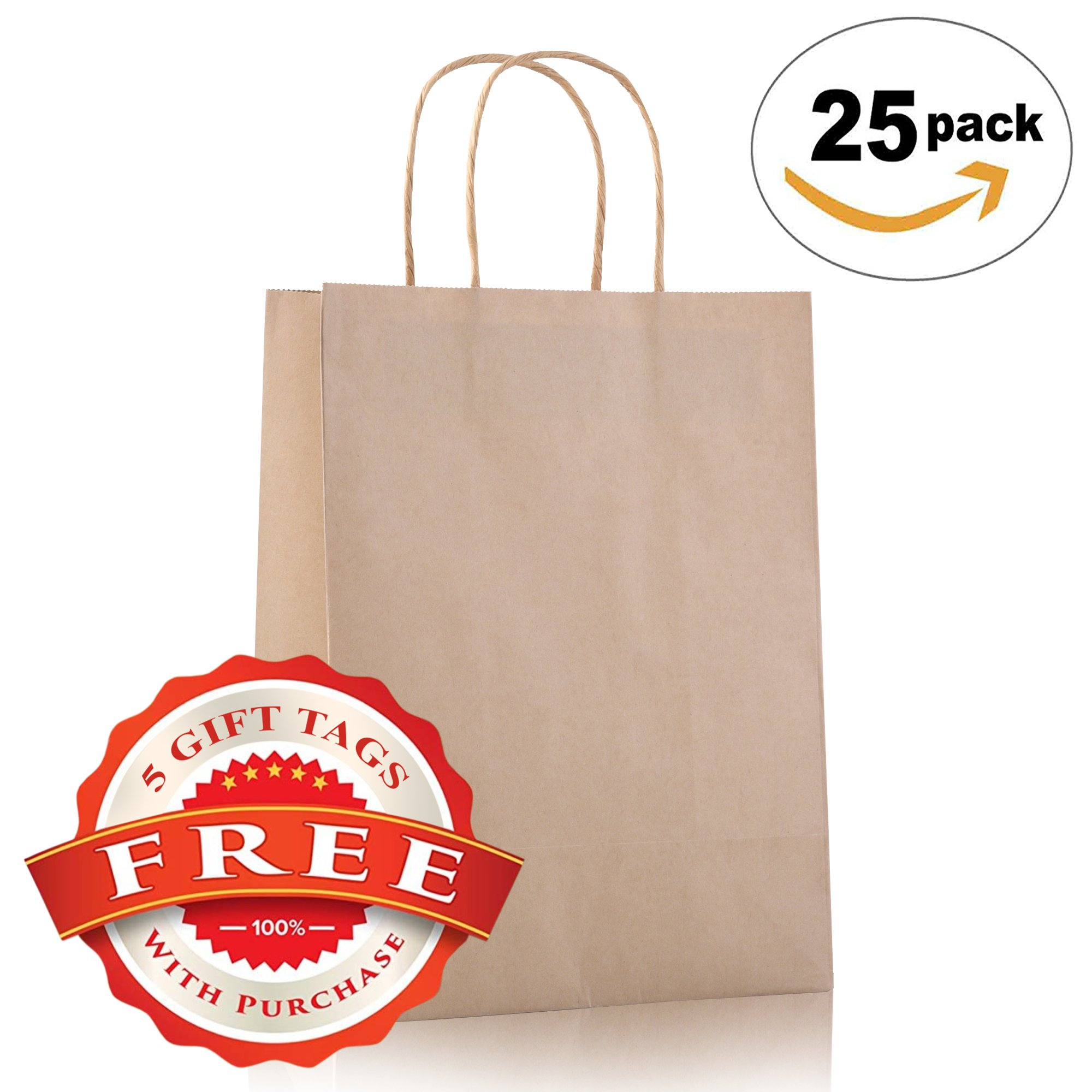 8''x4.75''x10.5'' 25 PCS – Brown Kraft Paper Bags for Bulk Shopping Party Merchandise Retail Craft Reusable Foldable Bags, Brown Natural Bag, Cub, Gift Bags with Handles and Good Handle Quality
