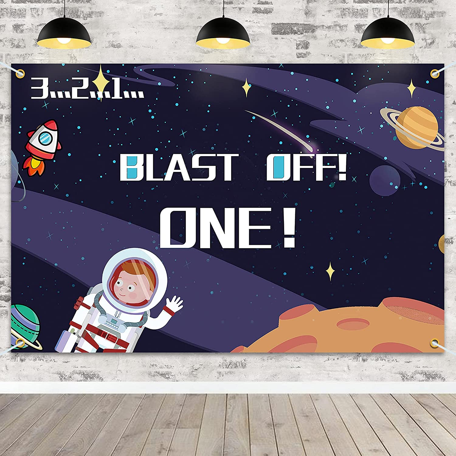 PAKBOOM Blast Off One Backdrop Banner Outer Space Theme Happy 1st First Birthday Party Decorations Supplies for Kids Decor – Blue 3.9 x 5.9ft