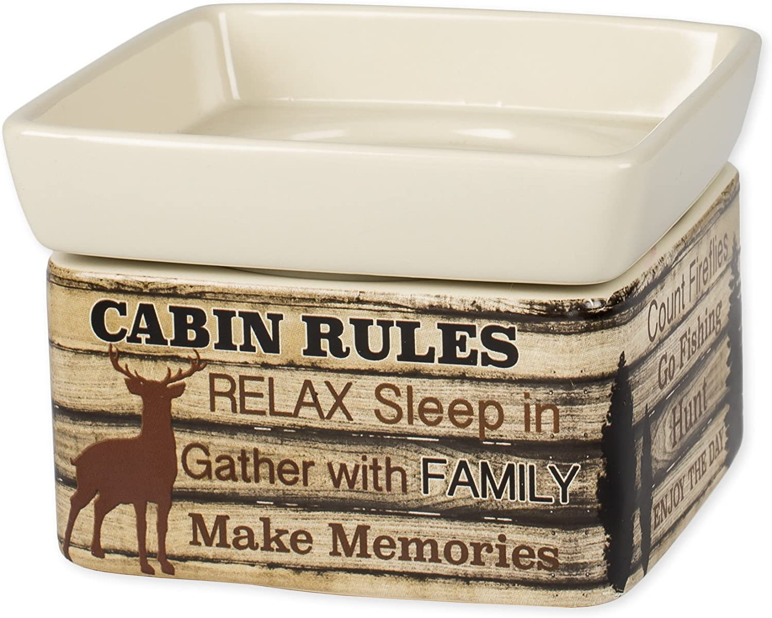 Elanze Designs Cabin Rules Rustic Wood Outdoor Stoneware Electric 2 in 1 Jar Candle and Wax Tart Oil Warmer