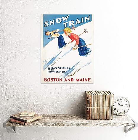 Snow Train Boston Maine skiing ad reproduction steel sign cabin mountain decor