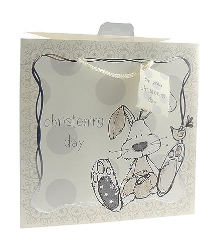 Bolsa de regalo de bautizo, diseño de conejo de dibujos animados sentados, crema, Large