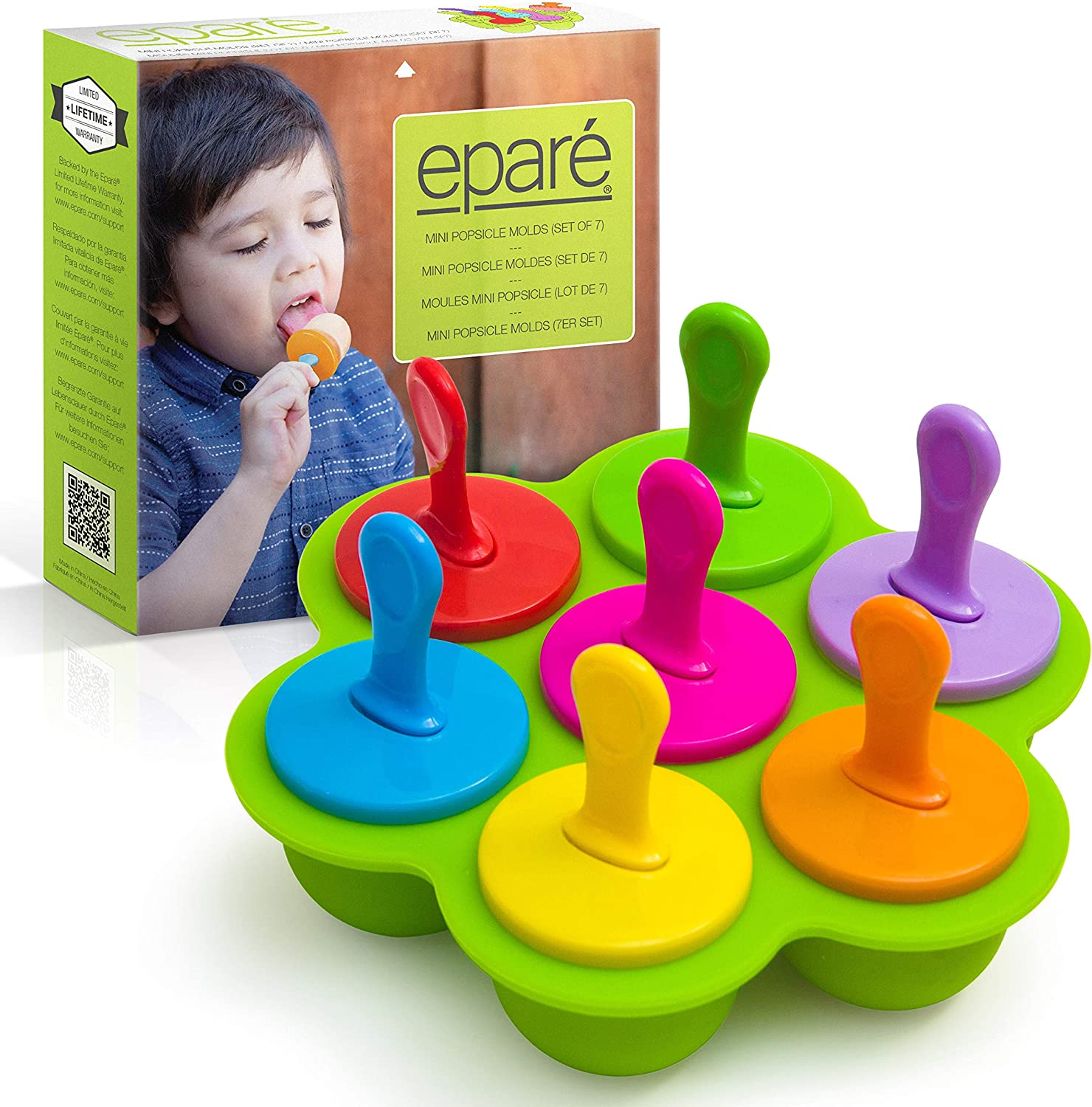 Eparé Toddler Popsicle Molds - Ice Cream Treat Tray - For Baby Teething Ice Pop Maker - Mini BPA Free Food Silicone Mold