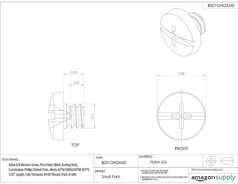 Plain Finish 5//16 Length Pack of 100 Slotted Drive Meets ASTM D4066//ASTM D6779 Nylon 6//6 Set Screw Off-White #10-24 Threads