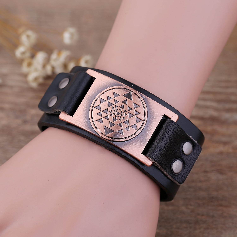 Bracelet en cuir avec amulette Style viking Motif shri yantra