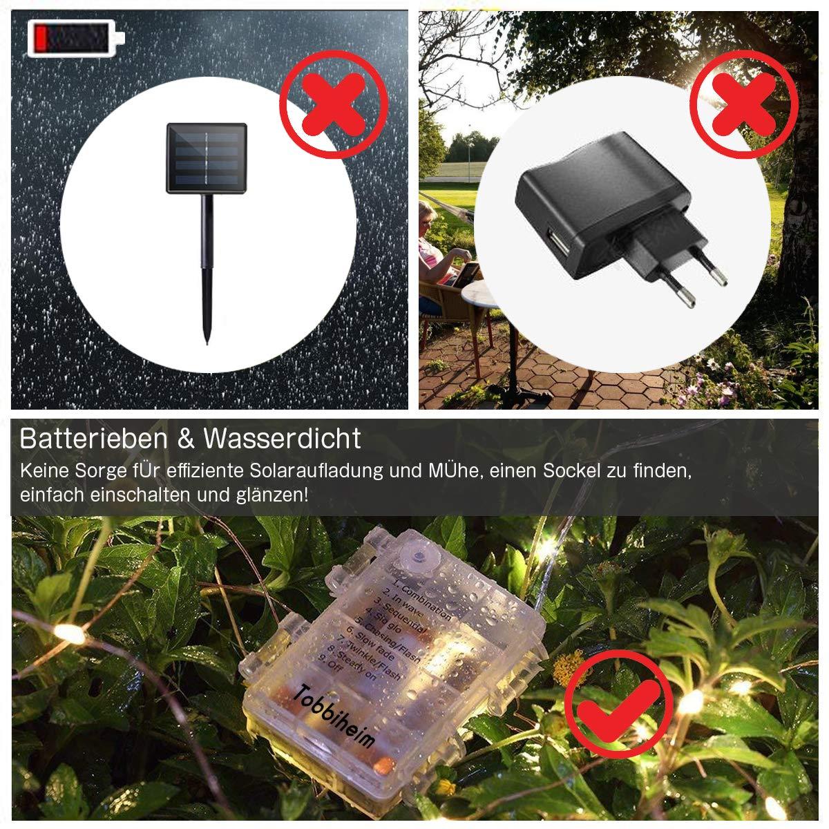 Hochzeit Tobbiheim Batterie Lichterkette Au/ßen 100 LEDs 12 Meter IP68 Wasserdicht 8 Modi mit Fernbedienung und Timer DIY Innen Dekoration f/ür Weihnachten Warmwei/ß Garten