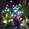 Solar Garden Decorative Lights Outdoor,2 Pack Beautiful LED Solar Powered Fairy Landscape Tree Lights,Two Mode Flower Lights