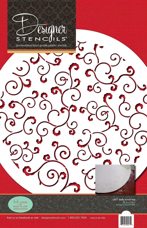 designer stencils C357 Leafy Scroll Cake Stencil Top Beige//semi-transparent