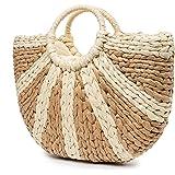 JOSEKO Summer Beach Bag, Women Straw Paper Handbag Top Handle Big Capacity Travel Tote Purse