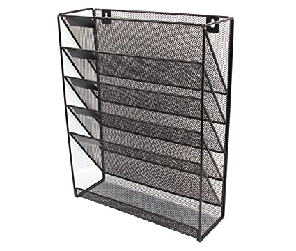 PAG Hanging Wall File Holder Mail Sorter Magazine Rack Office Supplies  Metal Mesh Desk Organizer,