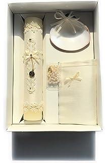 Handmade Catholic Baptism Kit including Rosary, Towel, Candle and Shell Kit De Bautizo Religious
