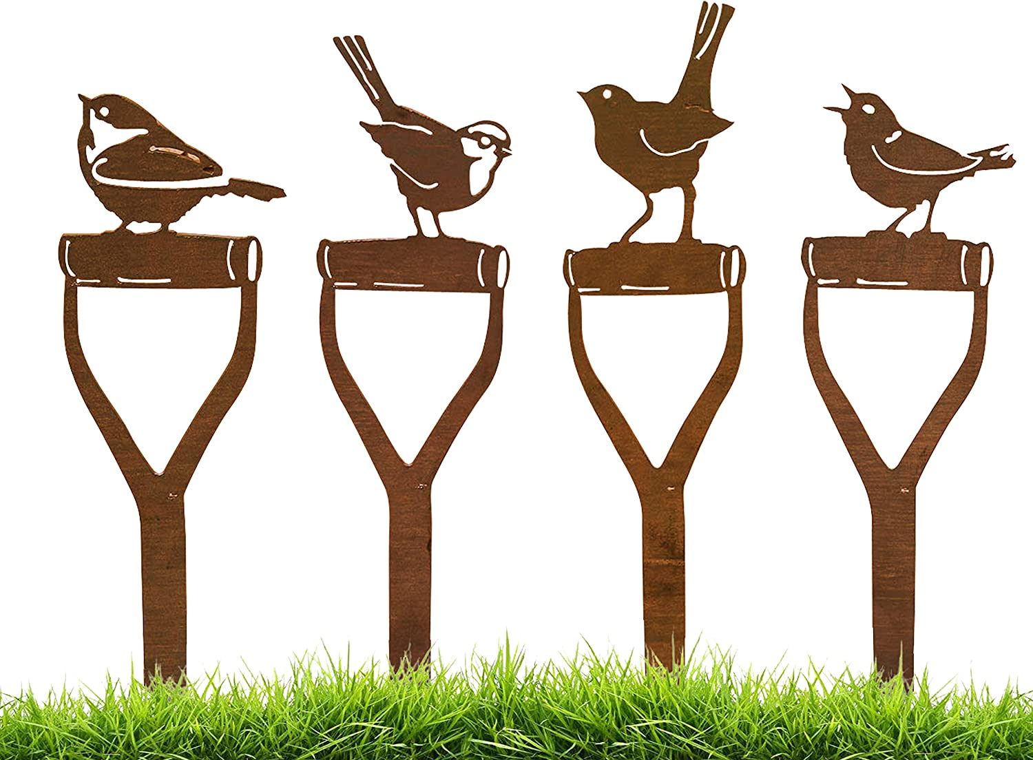 California Home and Garden CH843 Metal Rustic Rust Set of 4 Large Shovel Birds, 5 Inch Tall, Brownish Red