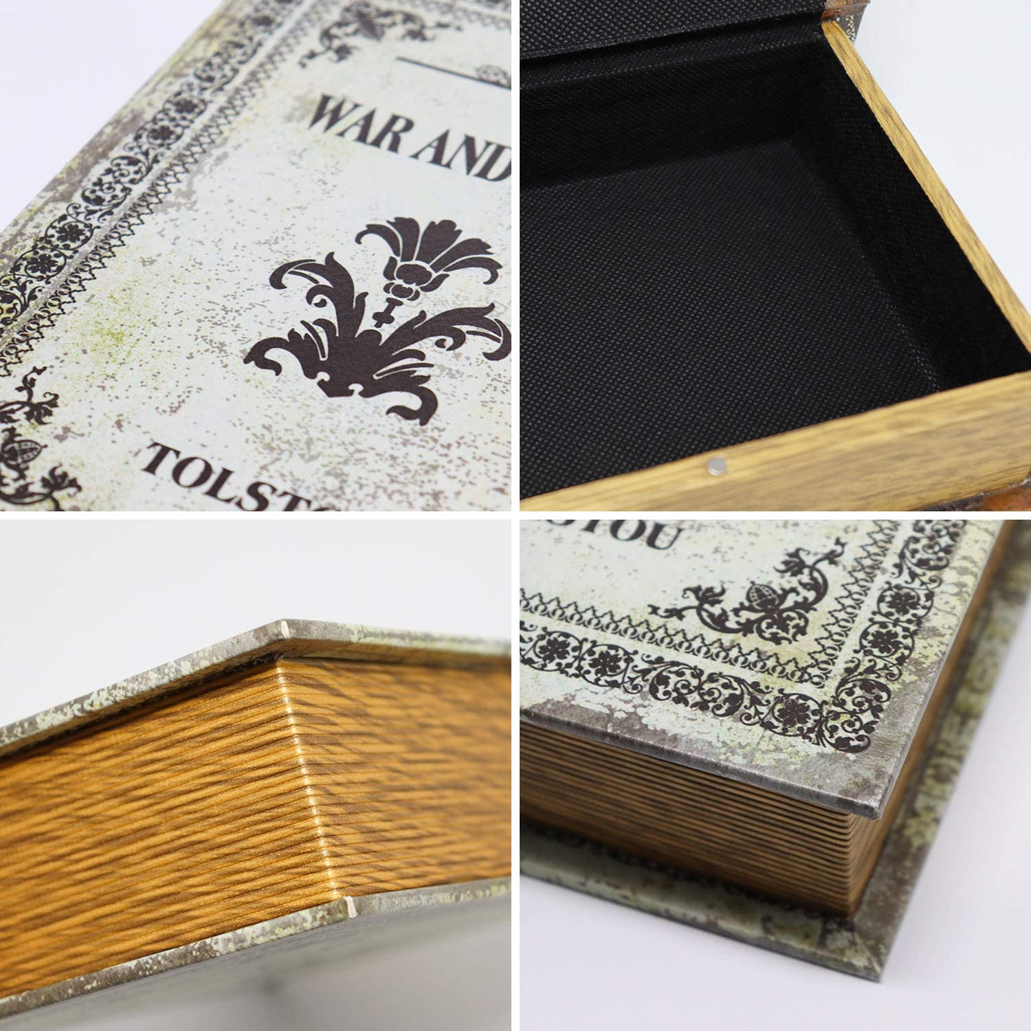 Dark Vintage Jolitac Decorative Book Boxes World Map Pattern Antique Book Invisible box with Magnetic cover Faux Wood Set of 3 Storage Set